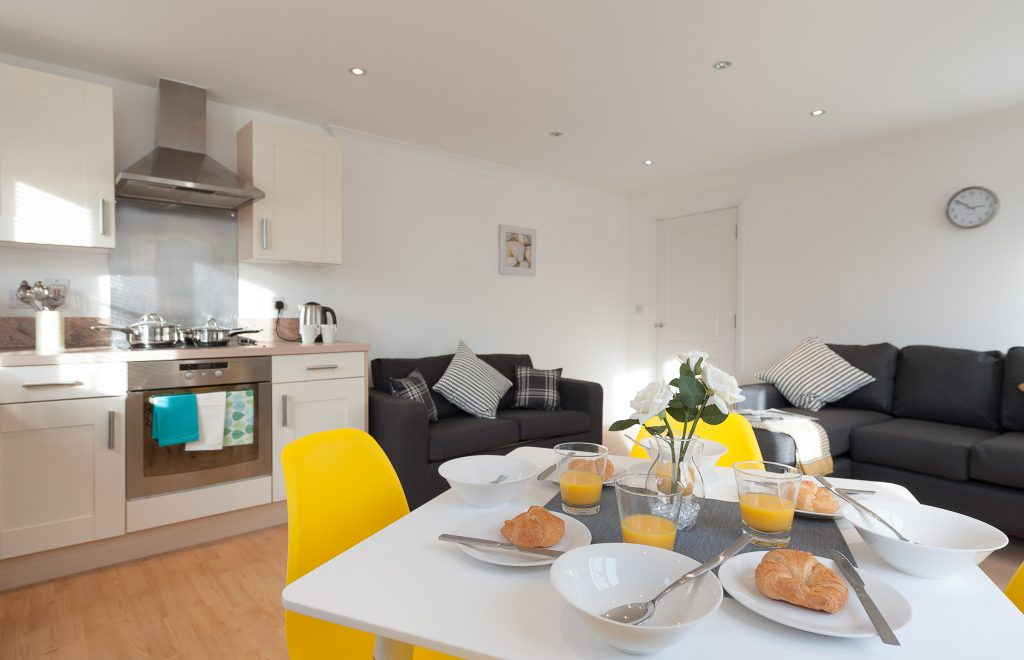 Serviced Accommodation Colchester First Property Kitchen/Living Room